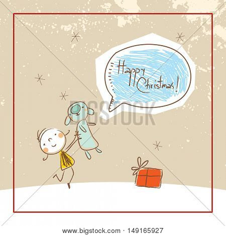 Christmas deer, Merry Christmas greeting card. Sketchy doodle style hand drawn seasonal vector illustration.