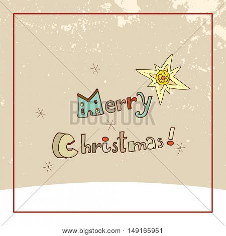 Christmas typography, Merry Christmas greeting card. Sketchy doodle style hand drawn seasonal vector illustration.