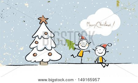 Christmas kids, Merry Christmas greeting card. Sketchy doodle style hand drawn seasonal vector illustration.
