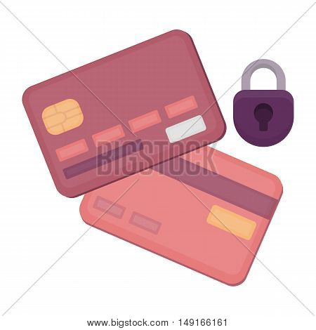 Credit Card Security icon in cartoon style isolated on white background. E-commerce symbol vector illustration.