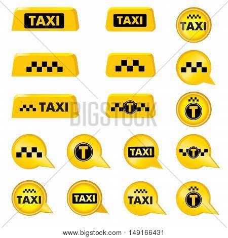 Taxi header icon set. Taxi sign. Call taxi pointer collection. Circle taxi emblems