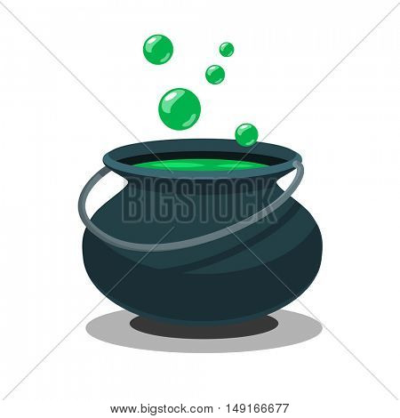 Halloween witch cauldron with potion and bubbles isolated on white background. Black pot with magic brew in flat style