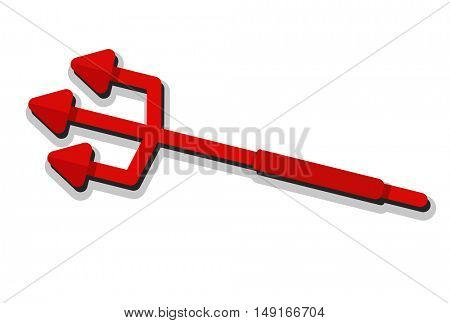 Red devil's Trident in flat cartoon style isolated on white for Helloween design