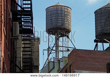 New York City water towers and roof tops