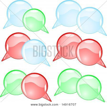 Couple round speech bubbles