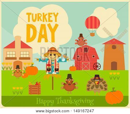 Happy Thanksgiving Greeting Card. Turkey Day. Turkeys Scarecrow and Pumpkin - Village Landscape. Vector illustration.