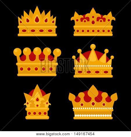 Set of gold crown flat icons. Vector isolated Illustration. Royal king or queen, princess crown. Awards for winners.