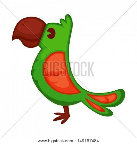 Cartoon parrot wild green bird. Tropical flying ara. Cartoon exotic bird vector illustration.