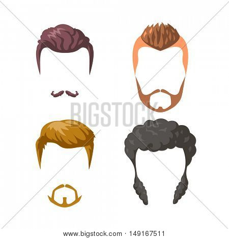 Beards, mustaches and hairstyles set. Different male styles and types of haircuts. Vector Illustration isolated on white.