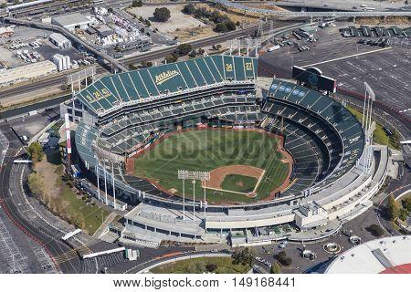 Oakland, California, USA - September 19, 2016:  Aerial view of the Oakland Coliseum baseball stadium.  Home of the Oakland Athletics.