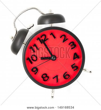 Red clock pointing at 20 white background.