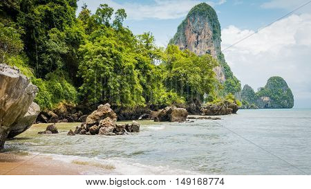 Railay Beach in Day Light in Krabi Thailand. Asia.