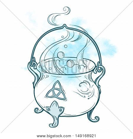 Blue boiling magic cauldron. Hand drawn wiccan design astrology alchemy magic symbol isolated over abstract watercolor background vector illustration