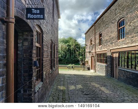 BURSLEM ENGLAND - SEPTEMBER 8: Signage for the tea rooms at Middleport Pottery. In Burslem Stoke On Trent England. On 8th August 2016.