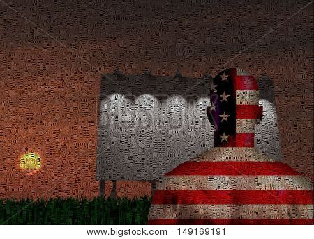 Man is standing before big board Composed entirely of text 3D Render