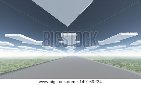 Arrow clouds and roadway 3D Render