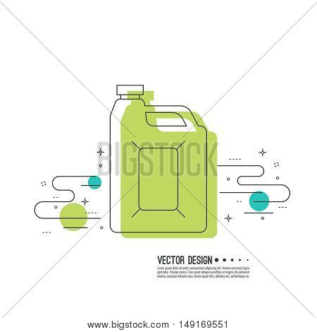 Canister under the petrol, gasoline and engine oil. Modern thin line icon. outline symbol. Vector. Can for combustible materials. linear style