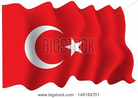 Turkey flag fabric flying wave vector illustration.
