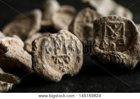 Antique Post Seals Made Of Lead With Monograms