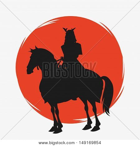 Samurai and horse cartoon icon. Japan and asian culture theme. Silhouette design. Vector illustration