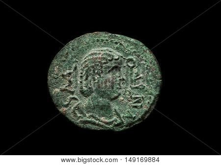 Ancient Roman Copper Coin With Portrait