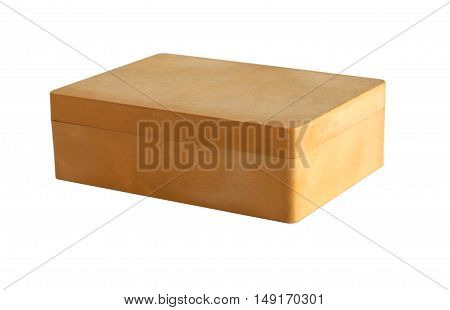 Beige plastic box isolated on a white background