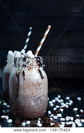 Chocolate Shake With Dripping Sauce