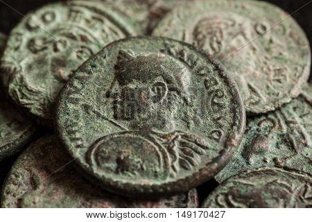 Pile Of Ancient Roman Copper Coins