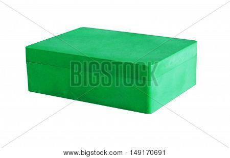 Green plastic box isolated on a white background