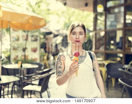 Woman Holding Ice cream Outdoors Relaxation Casual Concept