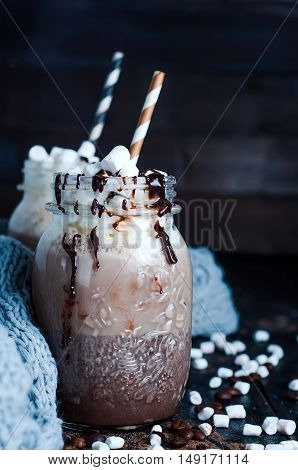 Cup Of Hot Cocoa Or Coffee For Christmas With Whipped Cream, Shaved Chocolate,