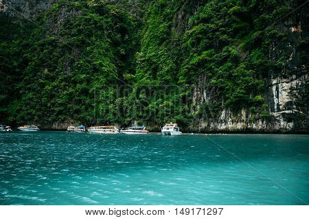 The Motor boats in Maya Bay Thailand