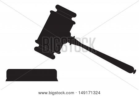 Auction hammer symbol. Law judge gavel icon. Flat design style.
