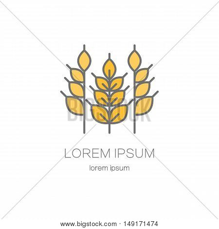 Line style logo template with ears of wheat. Logotype design for agricultural companies.