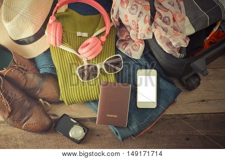 Travel accessories clothes Wallet glasses phone headset. Passport shoes. Ready for travel