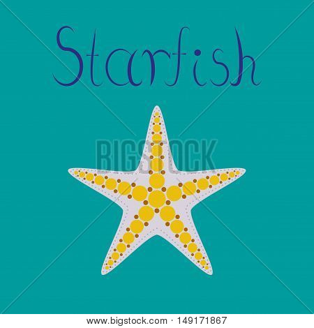 flat illustration on stylish background tropical starfish