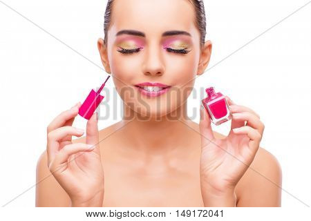 Beautiful woman in make up concept isolated on white