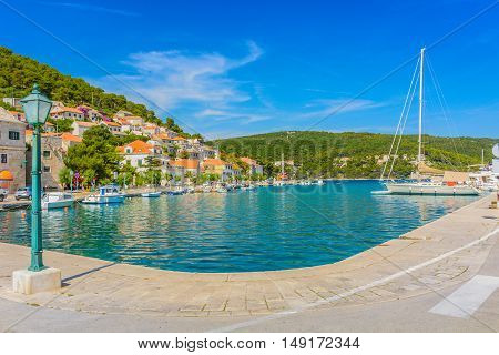 View at picturesque bay in town Pucisca, mediterranean place on Island Brac, Croatia.