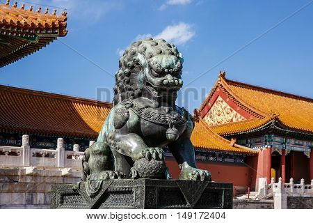 Bronze Lions, The Palace Museum in the Forbidden City, China. Bejing clear sun day.