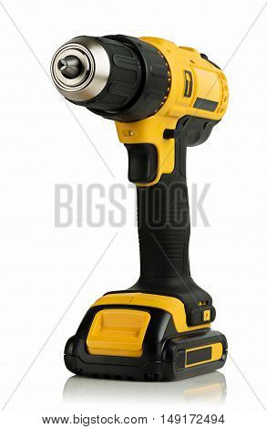 Cordless driver drill on a white background