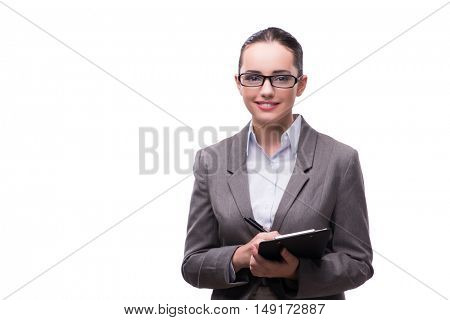 Elegant beautiful businesswoman in business concept isolated on