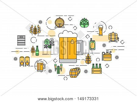 Thin line flat design banner for beer brewery and beer october festival. Webdesign and Email marketing. Modern vector illustration concept, isolated on white background.