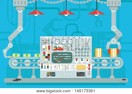 Control panel conveyor robot manipulators production development flat concept illustration