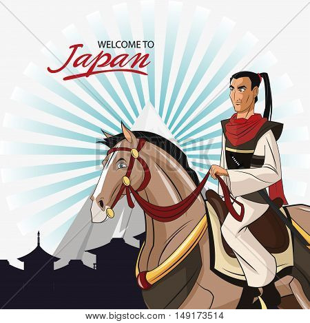 Samurai and horse cartoon icon. Japan and asian culture theme. Colorful design. Vector illustration