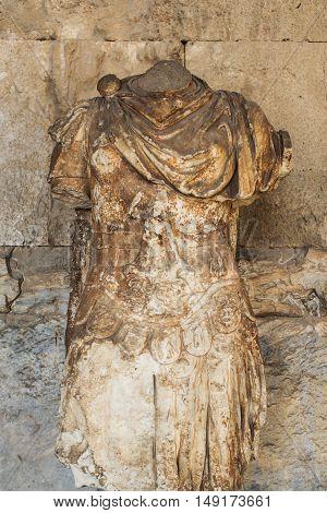 Statue of the personification of Iliada in stoa of Attalos; Athens; Greece