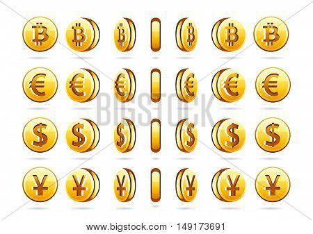 Set of four different rotating coins on white background