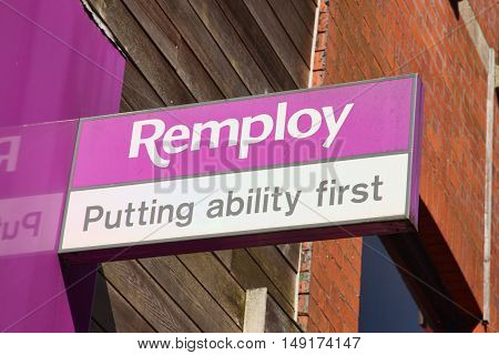Cardiff, Wales, UK , September 14, 2016 : Remploy logo advertising sign outside its office in Golgate Street