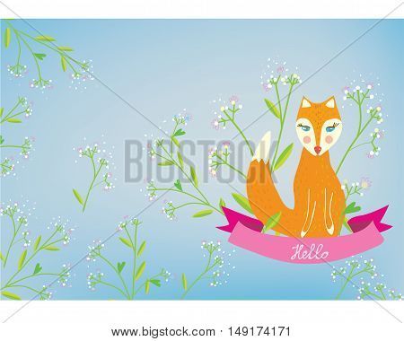 Greeting card with fox and flowers - nice design vector graphic illustration