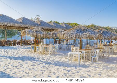 JERICOACOARA, BRAZIL, DECEMBER - 2015 - Outdoor restaurants at Lagoa do Paraiso beach in Jericoacoara Brazil