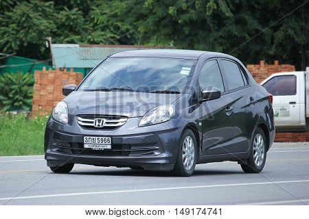 CHIANGMAI THAILAND -AUGUST 18 2016: Private Eco car Honda Brio Amaze. On road no.1001 8 km from Chiangmai Business Area.